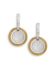 Alor Diamond 18K Yellow Gold And Stainless Steel Coil Drop Earrings