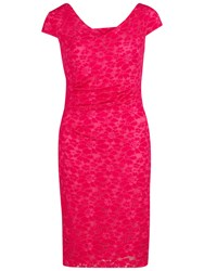 Gina Bacconi Stretch Lace Dress Bright Pink