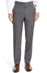 Santorelli Men's Big And Tall Flat Front Check Virgin Wool Trousers Grey