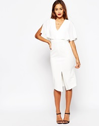 Asos Wiggle Dress With Woven Mix Angel Sleeve Ivory