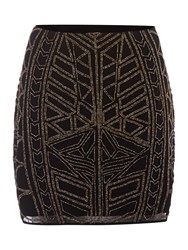 Label Lab Beaded Tribal Skirt Black