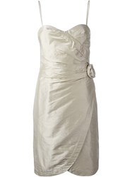 Armani Collezioni Rose Embellished Party Dress Nude And Neutrals
