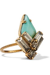 Elizabeth Cole Culora Gold Plated Swarovski Crystal And Stone Ring Blue