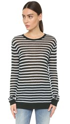 Alexander Wang Striped Long Sleeve Tee Mint And Ice