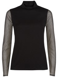 Jaeger Sheer Striped Sleeve Top Black