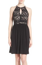 Junior Women's Morgan And Co. Sequin Lace Keyhole Bodice Skater Dress Black