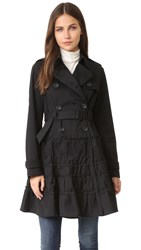 Red Valentino Ruffle Trench Coat Nero