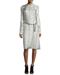Calvin Klein Long Sleeve Abstract Print Dress Beige