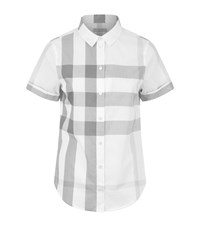 Burberry House Check Short Sleeve Shirt Female Light Grey
