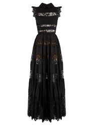 Elie Saab Lace Panelled Ruffled Georgette Gown Black