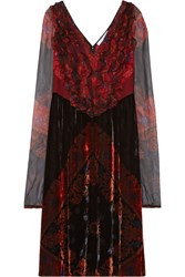 Givenchy Bandana Printed Velvet Dress With Chiffon