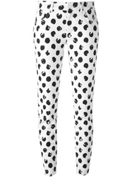 Dolce And Gabbana Large Polka Dot Print Jeans White