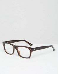 Gucci Square Clear Lens Glasses In Tort Brown