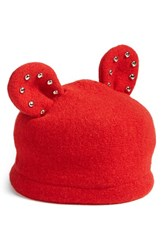 Helene Berman Women's Studded Ears Wool Blend Cap Red Rosso Red