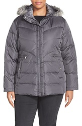 Larry Levine Faux Fur Trim Hooded Down And Feather Fill Jacket Plus Size Steel
