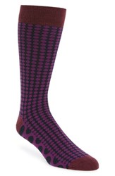 Ted Baker Men's London Dot Organic Cotton Blend Socks Purple