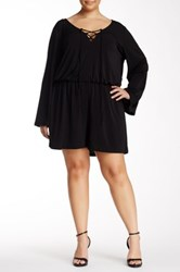 Want And Need Long Sleeve Lace Up Romper Plus Size Black