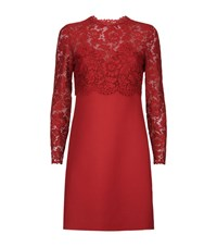 Valentino Lace Overlay Dress Female Red