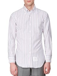 Thom Browne Striped Cotton Blend Shirt White Blue Red