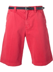Frankie Morello Belted Chino Shorts Pink And Purple