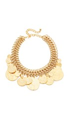 Kenneth Jay Lane Coin Chain Choker Necklace Satin Gold