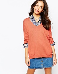 Esprit V Neck Knitted Jumper Burntorange