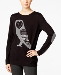 G.H. Bass And Co. Owl Graphic Sweater Black Combo