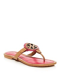 Tory Burch Miller Fringe Thong Sandals Dusty Cypress Hibiscus Flower