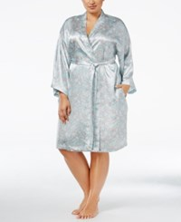 Thalia Sodi Plus Size Printed Satin Wrap Robe Only At Macy's Floating Leaves