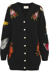 Gucci Oversized Embroidered Merino Wool Cardigan Black
