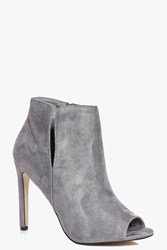 Boohoo Cut Work Peeptoe Shoe Boot Grey