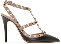 Valentino Black And Pink Rockstud Cage Pumps