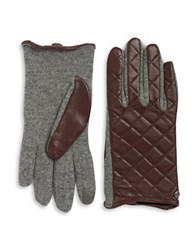 Lauren Ralph Lauren Wool Blend And Quilted Leather Touch Gloves Coffee