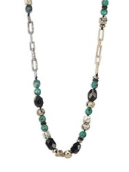 Alexis Bittar Crystal Encrusted Mixed Stone Necklace Gold Green