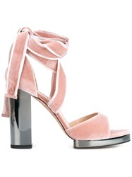 Valentino High Heel Velvet Sandals Pink Purple