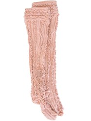 Ryan Lo Thigh High Ruffle Rib Socks Pink And Purple