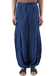 Aganovich Striped Wide Pleated Balloon Pants Blue