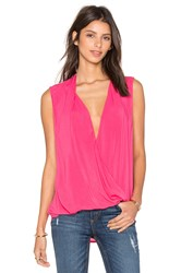 Velvet By Graham And Spencer Georgina Rayon Challis Cross Front Sleveless Top Pink