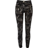 River Island Womens Grey Camo Zipped Super Skinny Trousers