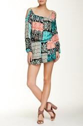 Necessary Objects Cold Shoulder Printed Romper Multi