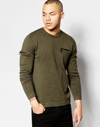 Asos Cotton Jumper With Chest And Arm Zip Pocket Khaki Green