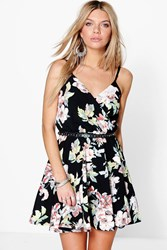 Boohoo Floral Wrap Skater Dress Multi