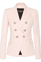 Balmain Double Breasted Wool Blazer Pastel Pink