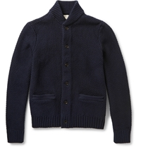 Club Monaco Leather Elbow Patch Cotton Cardigan Blue