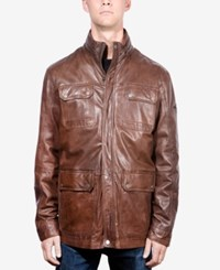Boston Harbour Vintage Men's Washed Leather Stand Collar Field Jacket Dark Chocolate