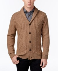 Tricots St Raphael St. Men's Cable Knit Shawl Collar Cardigan Camel Heather