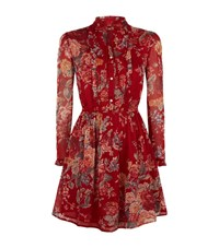 Denim And Supply Ralph Lauren Tie Neck Floral Print Dress Female Red