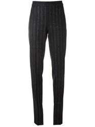 Cedric Charlier Striped Trousers Blue