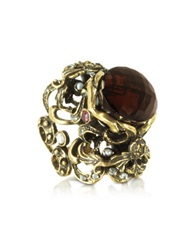 Alcozer And J Baroque Golden Brass With Fum Crystal And Micropearls Ring