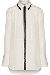 Vince Faux Leather Trimmed Silk Crepe Shirt Off White